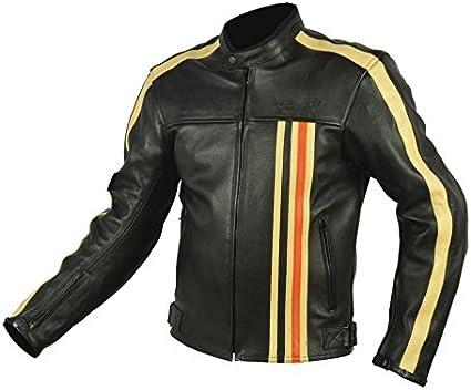 con homologaci/ón CE-13595 dise/ño vintage Rider-Tec Chaqueta de piel para moto