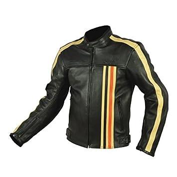 RIDER-TEC - Chaqueta de piel para moto, diseño vintage, con ...