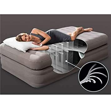 Intex Inflatable Prime Comfort Elevated Airbed Mattress with Internal Pump, Twin