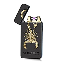Padgene Electronic Pulse Double Arc Cigarette Lighter,Flameless USB Rechargeable Arc Lighter