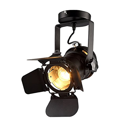 Hobaca Loft Vintage Industrial Iron Mount Spotlight E27 Track Lighting Ceiling Shop Light Fixtures LED Pendant Lights Ceiling Lights for Home Lighting