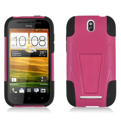 Aimo HTCONESVPCMSK021S Durable Rugged Refuge Hybrid Case for HTC One SV - 1 Pack - Retail Packaging - Black/Hot Pink ()