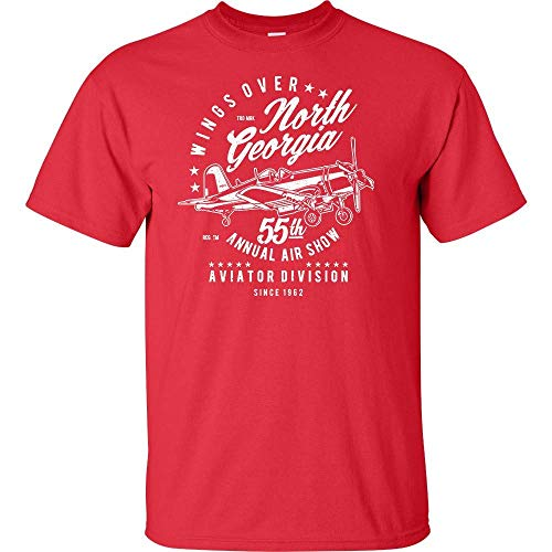 Wings Over North Georgia 55th Annual Air Show Airplane White Logo T Shirt Aviation Lover Aviator Division Pilot Sky Airplane Air Show Airport Mens Adult Short Sleeve Tee