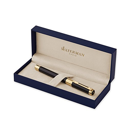 waterman-perspective-black-with-golden-trim-rollerball-pen-with-fine-black-refill-s0830860
