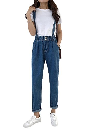 e0aae2f4341507 [ジンニュウ] レディース サロペットパンツ デニム ロング パンツ ゆったり 大きいサイズ 着痩せ オーバーオール