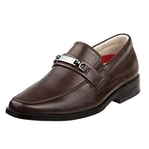 Joseph Allen Boys Slip On Dress Shoe with Metal Embellishment, Brown, 4 M US Big Kid'