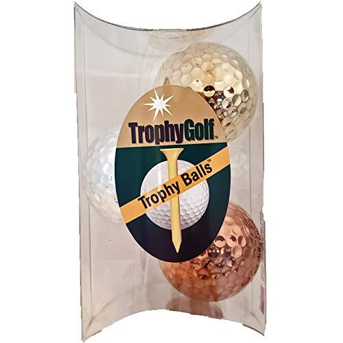 TROPHYGOLF 3 Olympic Colored Golf Balls, Gold/Silver/Bronze