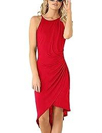 Womens Casual Spaghetti Strap Summer Dress Bodycon Midi Party Sleeveless Dresses