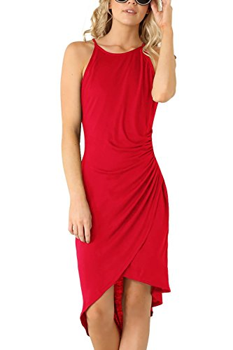 (Eliacher Women's Summer Spaghetti Strap Sleeveless Casual Bodycon Midi Dress Red Large (Bust  86-90cm/33.90-35.40