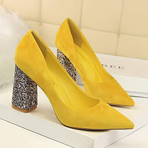 alto Salvaje Zapatos Mujer Primavera Rojo Novia Alto tacón Tacones De Negros Yukun Rojo Baja 39 zapatos de Otoño Gruesos Y Yellow Boca con 1tcWqxS0TU