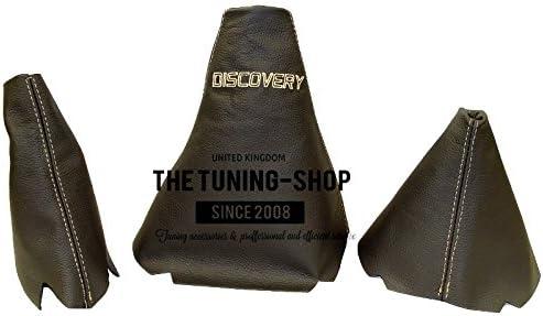 Set von 3/Gamaschen Custom Made Boots Schwarz Echte italienische Leder mit Beige Logo Edition Stickerei oder Serie 2/ Passend f/ür Land Rover Discovery Series 1/ 1999/–2004 1995/–1998