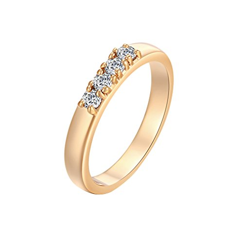 Women 18K Gold Plated Clear Crystal Cubic Zirconia Ring Size 5.25 - 1