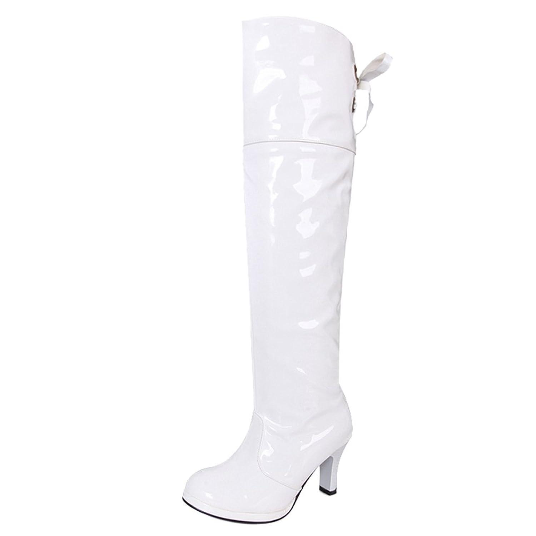 COOLCEPT Damen Mode Stiefel Heels White 2018 Letztes Modell  Mode Schuhe Billig Online-Verkauf