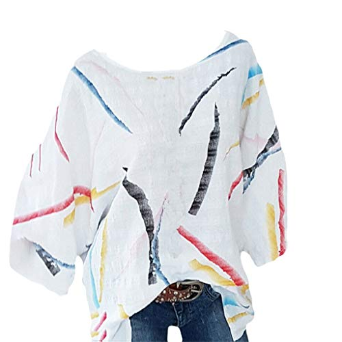 HP95 Women Leaf Printed Shirt Tops Casual Loose Short Sleeve Round Neck Soft Breathable Daily Tops T-shirt