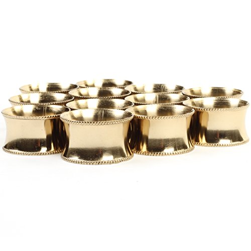 (Koyal Wholesale 12-Pack Beaded Metal Napkin Rings, Gold for Weddding Reception, Christmas,)