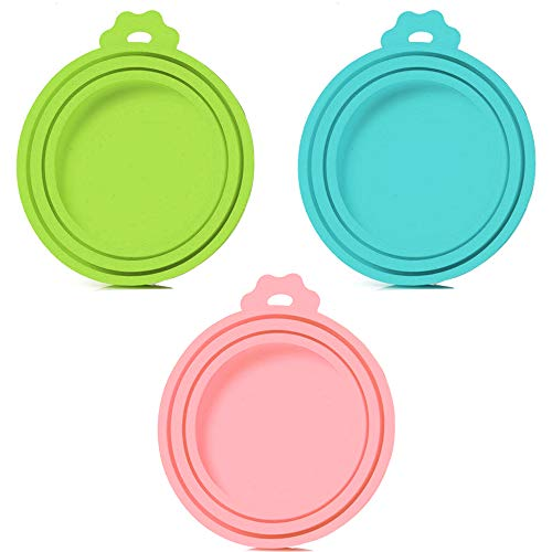 SLSON 3 Pack Pet Food Can Cover Universal Silicone Cat Dog Food Can Lids 1 Fit 3 Standard Size BPA Free and Dishwasher,Blue,Green and Pink