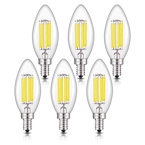 OMAYKEY 6W 6000K LED Candelabra Bulbs Daylight White Glow, Dimmable 65W Equivalent 650 Lumens, E12 Candle Base C35 Clear Chandelier Bulb, 360 Degrees Beam Angle, Pack of 6 ()