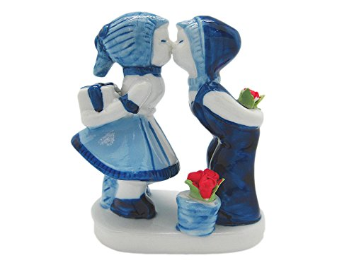 "Ceramic Delft Blue Kiss with Tulips (3.5"")"