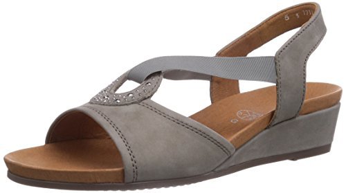 ara Sirmione, Damen Knöchelriemchen Sandalen mit Keilabsatz Grau (grigio 05)
