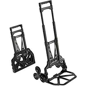 ATHLON TOOLS Aluminium Stair Climber Sack Truck Foldable Extra Long Handle 110 cm Loading Area with Non-Slip Pads Black…