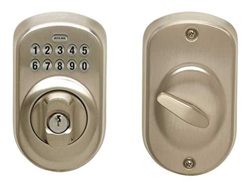 (Schlage Lock Company BE365 PLY 619 KDC Keypad Deadbolt Plymouth Adjustable Backset Satin Nickel, Plastic, 4.25