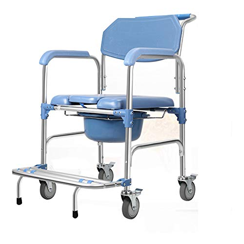 Pebegain Mobile Four-Wheeled Brake Bath Chair, Patient Care Bath Tub with Armrests, Multi-Function Waterproof Chair for Bathing, Non-Slip Rust-Proof and Comfortable Seat
