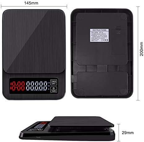 HELEISH Mini bilancia elettronica digitale for caffè americano con timer 3kg 0.1g Bilancia digitale for caffè digitale Strumenti accessori
