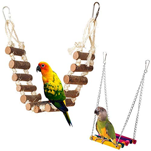 PIVBY Rope Step Ladder Bridge Bird Toy Cage Hammock Swing Toys for Parrot Parakeet Budgie Cockatiel Pack of 2