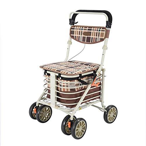 Rollator ligero Caminador con ruedas plegable con frenos bloqueables Carretilla de la compra del carrito de la compra del...