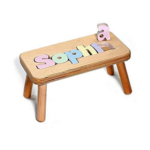 - Personalized Name Puzzle Stool 1-12 Letters- Natural Stool, Pastel Letters (1 Name Only)