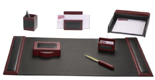 Dacasso Rosewood and Leather Desk Set, 7-Piece by Dacasso