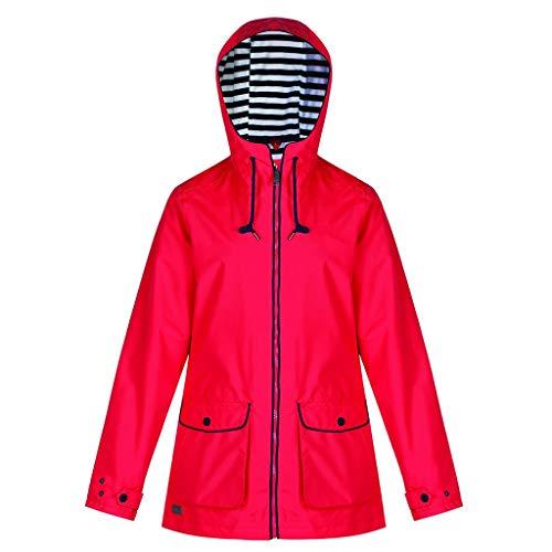 Baiggooswt Women's Solid Rain Jacket Outdoor Jackets Adjustable Sleeve Drawstring Waterproof Hooded Raincoat Windproof(Red,XXXL)