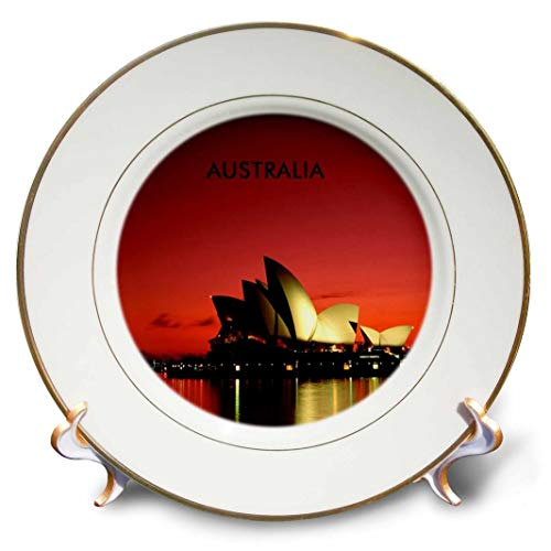 (3dRose cp_60672_1 Night Time Picture of Sydney Opera House Australia Porcelain Plate, 8