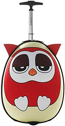 i-baby 3D Animal Kids Rolling Luggage Toddler Waterproof Travel Suitcase Carry On Baby Suitcase 18 Inch Upright Hard Side in Free Gift Package, Owl red