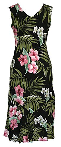 RJC Women's Pale Hibiscus Orchid Long Tank Dress, Black, 1X Plus