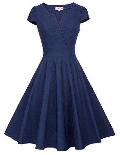 Navy Blue 1950s Vintage Dress Cap Sleeve V Neck Swing Dress Small (Cap Sleeve Vintage Cap)