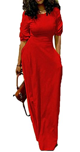 Sottile In Tasca Manica Rosso Vestito Lungo Forma Delle Sulla Abito Jaycargogo Maxi Estate Breve Donne twSgYpq