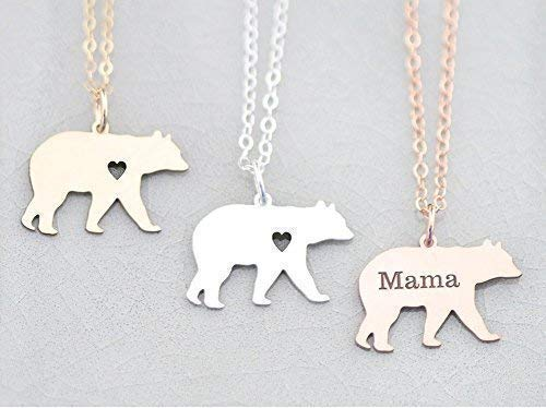 Mama Pendant 1 (Mama Bear Necklace - IBD - Personalize Name & Date Engraving - Choose Chain Length - 935 Sterling Silver 14K Rose Gold Filled Pendant- Ships in 1 Business Day)