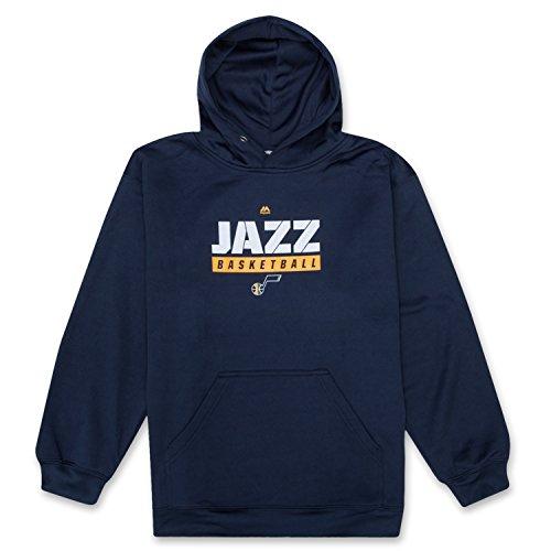 fan products of NBA Boys Long Sleeve Athletic Sports Hoodie Sweatshirt With Front Kangaroo Pocket Utah Jazz Navy Medium
