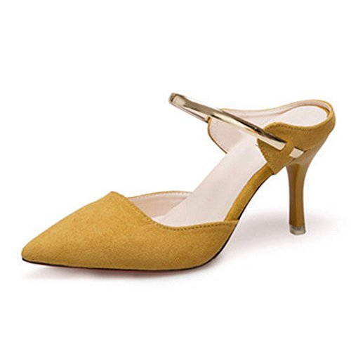 FEI Mules Slippers Women's Summer Fashion Wear Sandals Stilettos High-heeled Sandals Women's Tips Half-Baotou Women's Shoes Apricot Color, Black, Yellow Sandals Casual Yellow