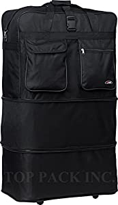 """36"""" Rolling Wheeled Duffle Bag Spinner Suitcase Luggage Expandable (36 Inch, Black)"""