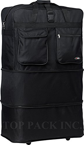 """30"""" Rolling Wheeled Duffle Bag Spinner Suitcase Luggage Expandable (30 Inch, Black)"""