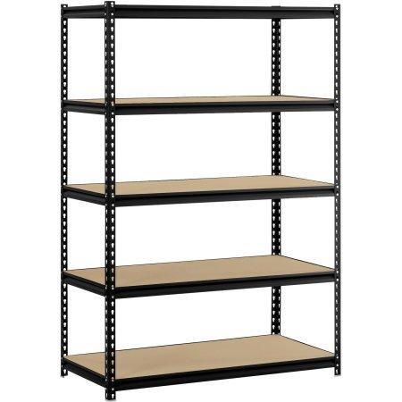 Muscle Rack 48''W x 24''D x 72''H 5-Shelf Steel Shelving - Black | 5 Particle Board Shelves Support Loads by Generic