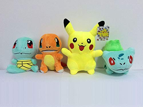 PampasSK Stuffed & Plush Animals - 4Pcs/lot Plush Toys Pikachu & Bulbasaur & Squirtle & Charmander Anime Movie Plush Toy Stuffed Animals Plush Dolls 1 PCs from PampasSK