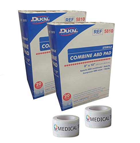Sterile 8x10 Sterile Abdominal (ABD) Combine Pads 2 Packs of 20 + 2 Rolls of Vakly Medical Tape (2)