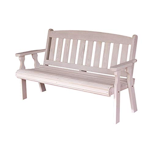 CAF Amish Heavy Duty 800 Lb Mission Pressure Treated Garden Bench (4 Foot, Semi-Solid White Stain)