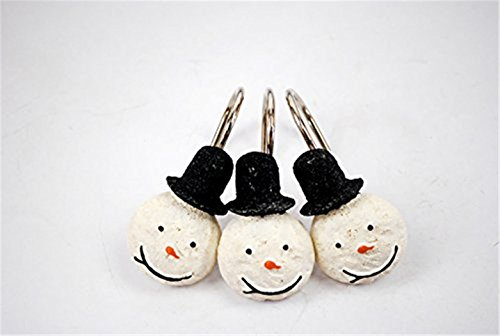 Snowman Waterproof Anti Rust Bathroom Resin Shower Curtains hooks Set of 12
