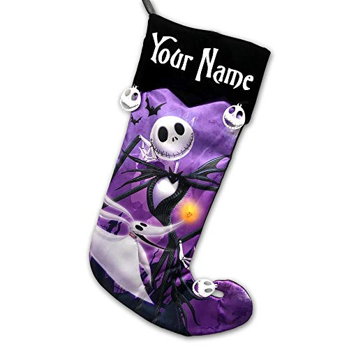 Personalized Officially Licensed Disney Tim Burtons The Nightmare Before Christmas 25th Anniversary Edition Hanging Christmas Stocking Decoration Featuring Jack Skellington and Zero with Custom Name