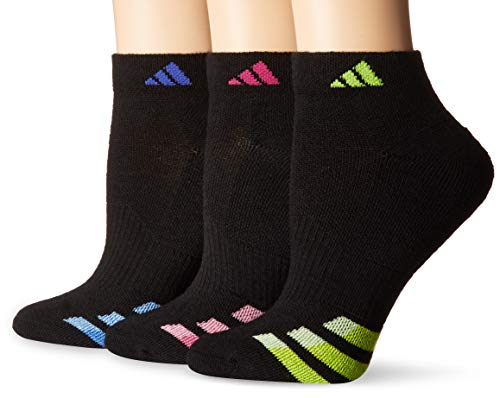 adidas Women's Cushioned Low Cut Socks (3-Pack), Blue/Semi Solar Slime, Size ()