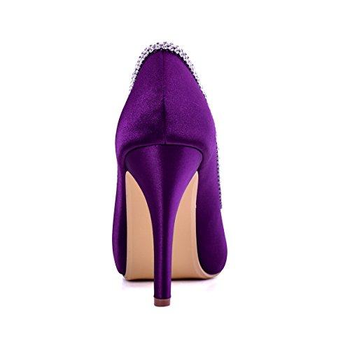 Toe Dress Purple Platform Wedding Heel Rhinestones Peep Satin High Shoes Women Evening EP11083 ElegantPark Pumps wUZI6R